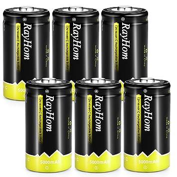 Amazon.com: Pilas C recargables de 5000 mAh – baterías C ...