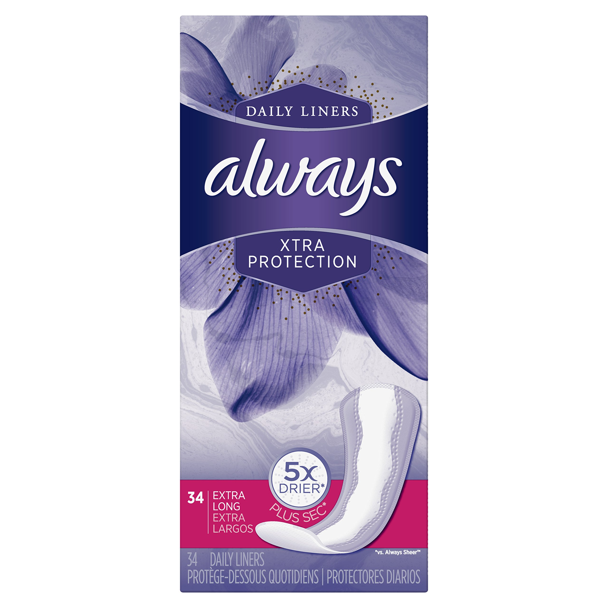 Always Xtra Protection Daily Feminine Panty Liners for Women, Extra Long, Unscented, 34