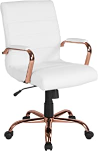 Flash Furniture Mid-Back White Leather Executive Swivel Office Chair with Rose Gold Frame and Arms