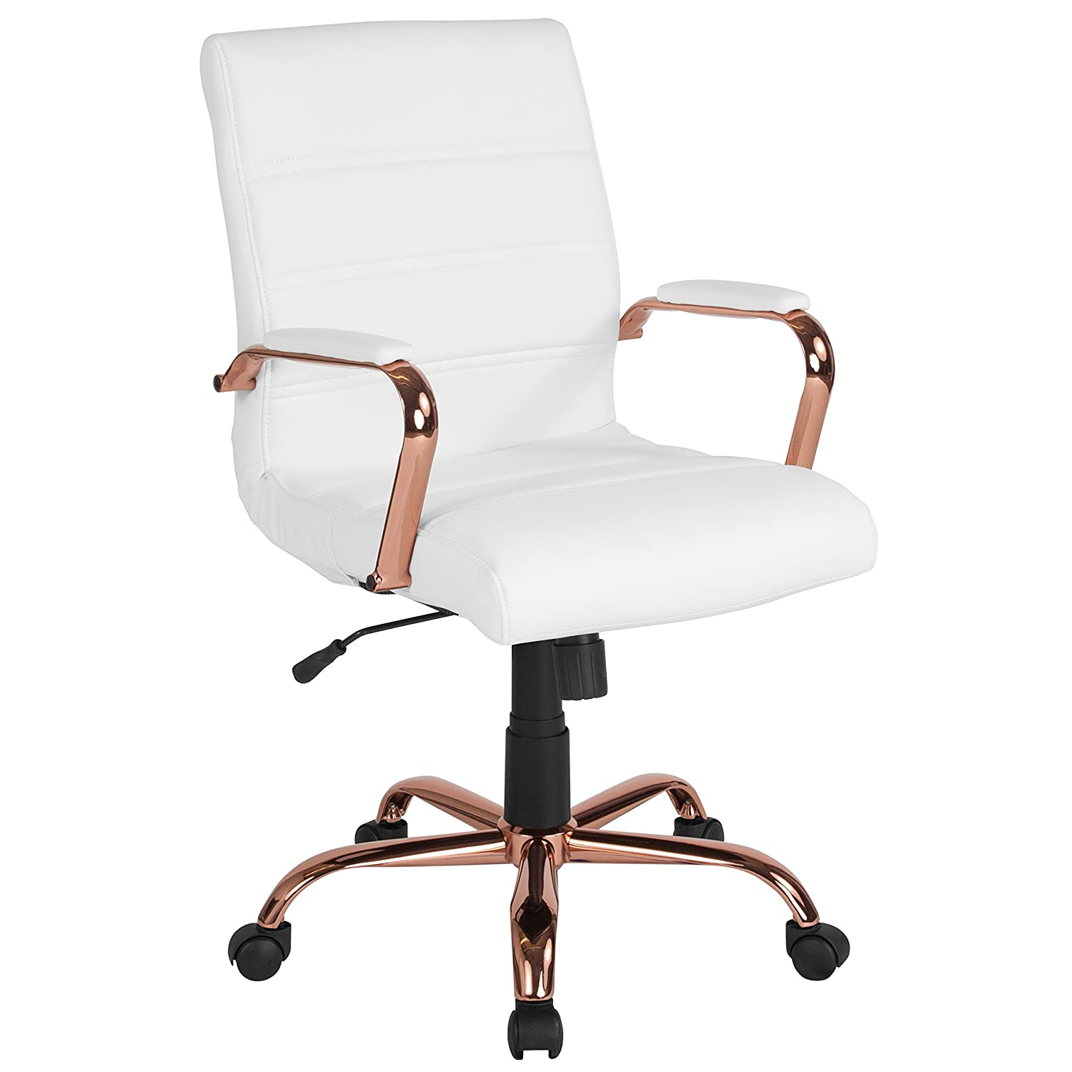 Flash Furniture Mid-Back White Leather Executive Swivel Office Chair with Rose Gold Frame and Arms –