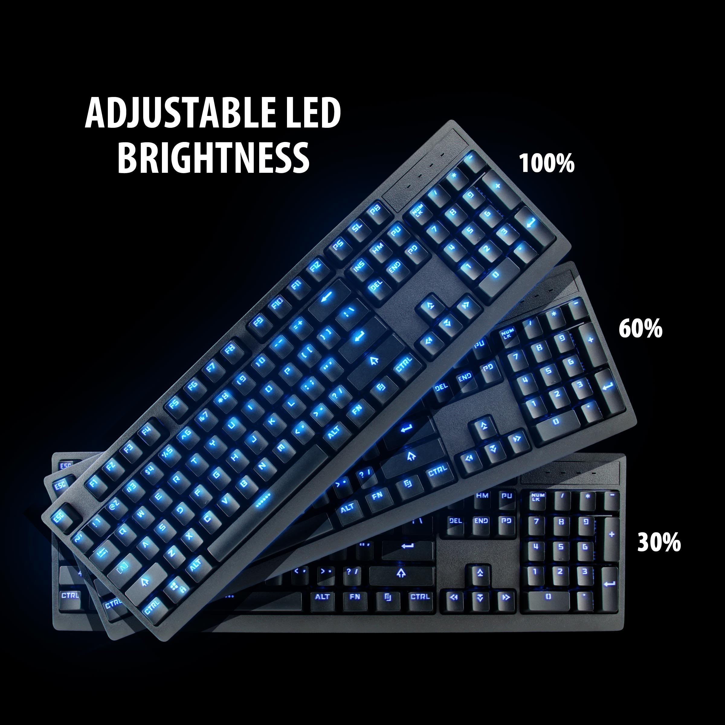 ENHANCE GX-K5 FPS Mechanical Gaming Keyboard with Blue LED Backlighting & TTC Brown Tactile Switches – Great for Counter-Strike: Global Offensive , Overwatch , Call of Duty: Black Ops III & More Games by ENHANCE (Image #3)