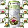 Teabloom Natural Flowering Tea - 12 Unique Varieties of Blooming Tea Balls - Hand-Tied Green Tea & Edible Flowers - 12-Pack Gift Canister - 36 Steeps, Makes 250 Cups