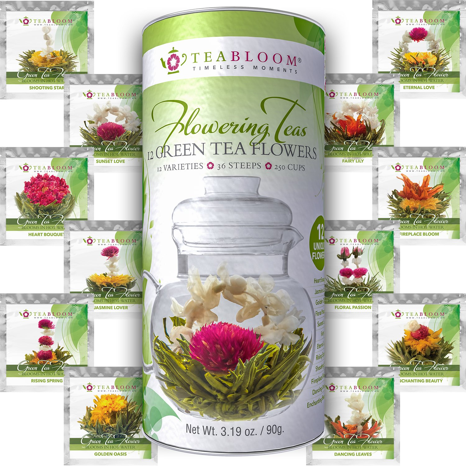 Amazon teabloom flowering tea 12 unique varieties of amazon teabloom flowering tea 12 unique varieties of blooming tea flowers hand tied natural green tea leaves edible flowers 12 pack gift izmirmasajfo