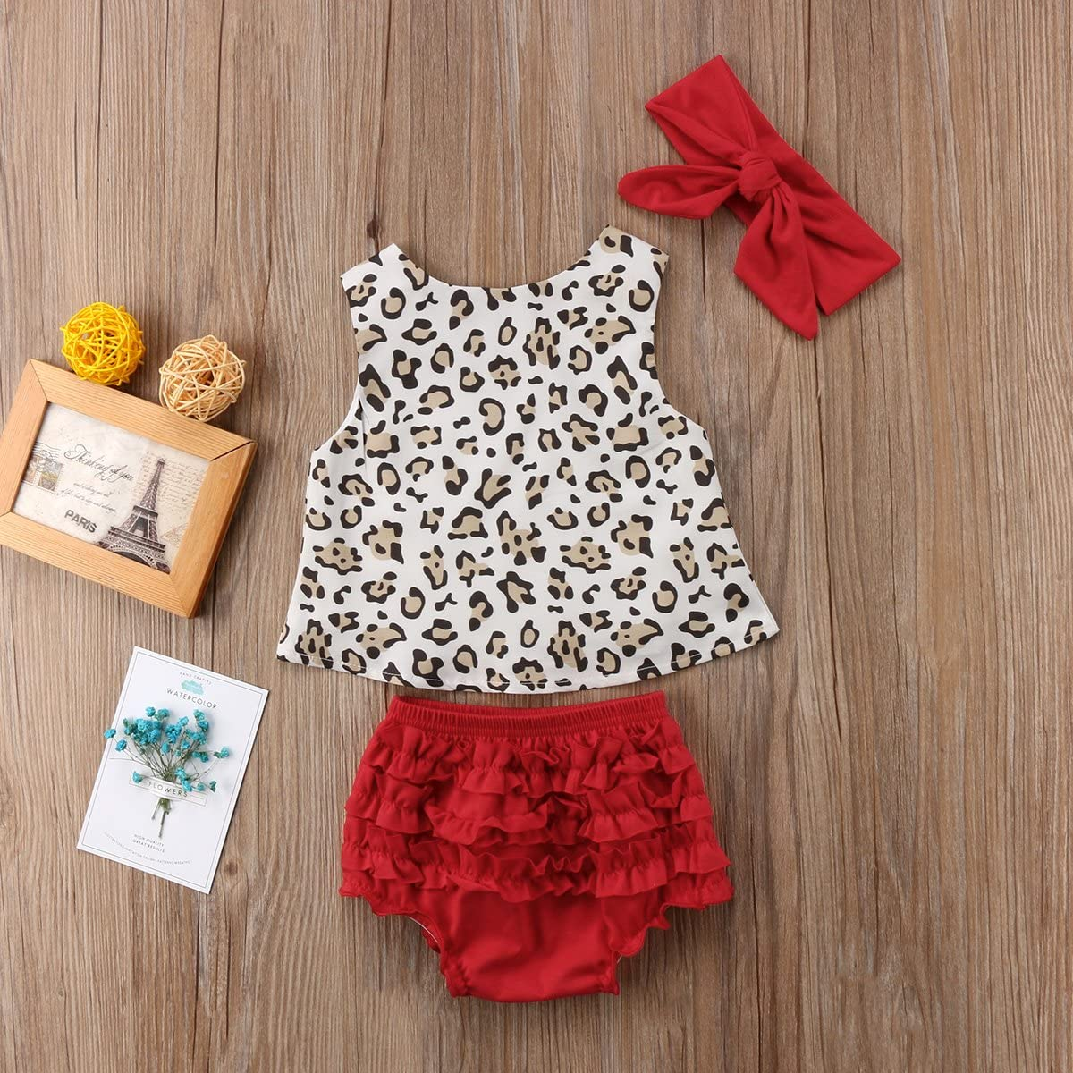 Newborn Baby Girl Vest Shorts Outfits Leopard Sleeveless Vest Tops Floral Ruffles Short Outfits with Headband Clothes