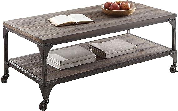 Amazon Com Acme Gorden Coffee Table Weathered Oak Antique Nickel Furniture Decor