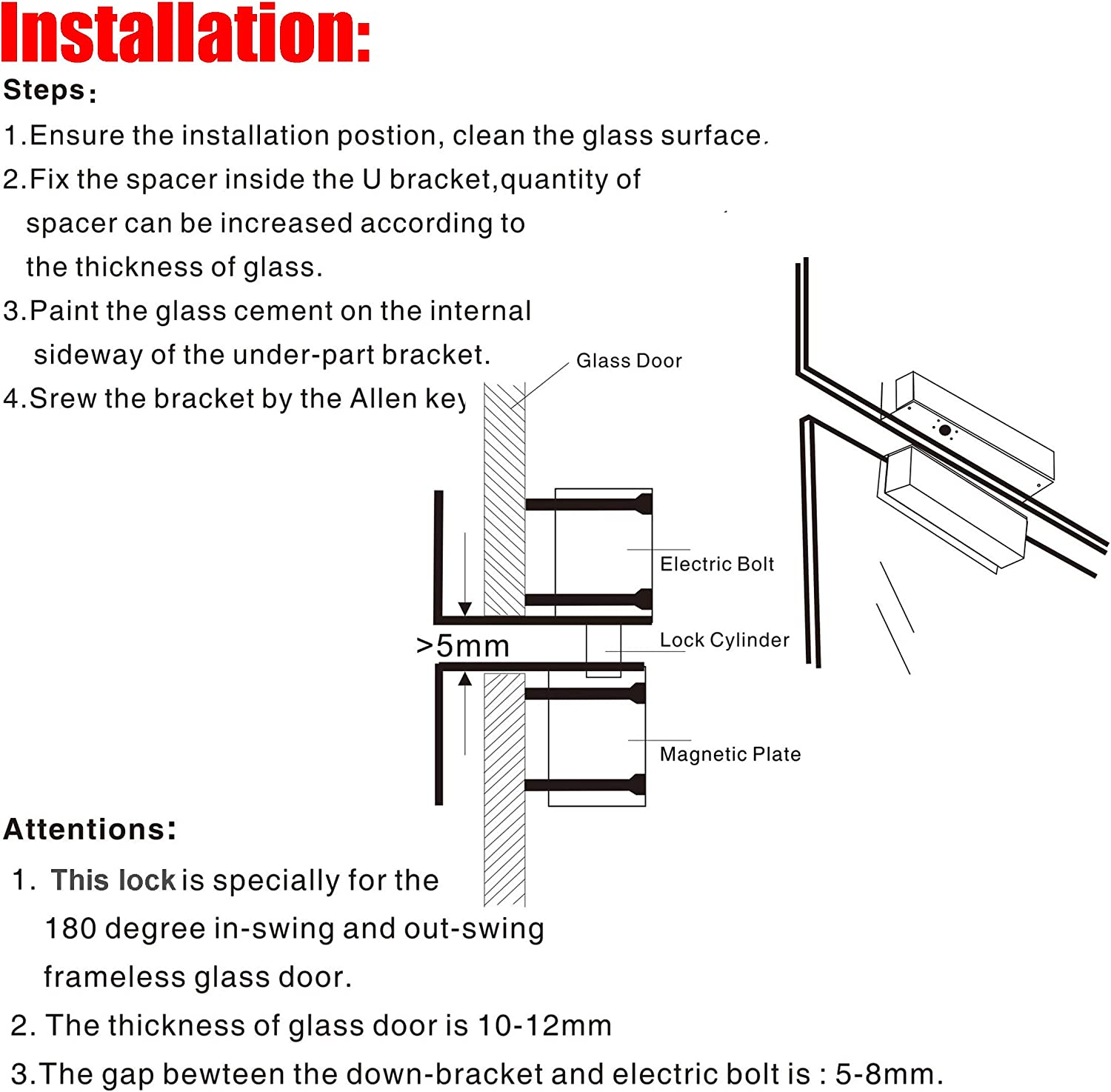 Electric Bolt Lock For Frameless Glass Door Left-open With Feedback Signal Home & Kitchen