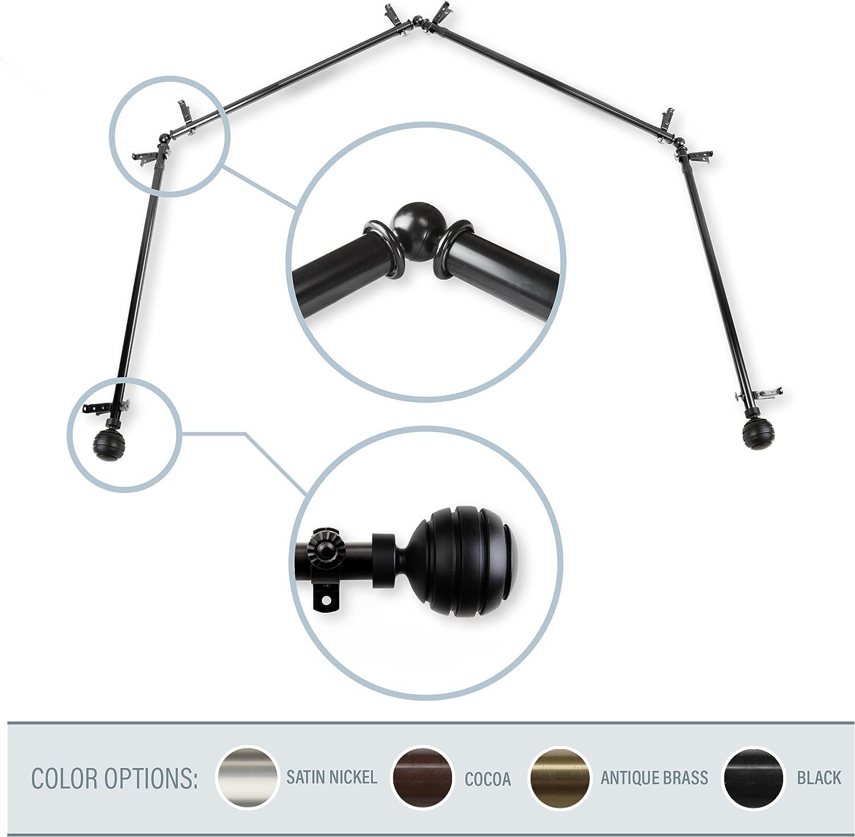 Black 28-48 inch Luminous Double Curtain Rod 1 inch Diameter A/&F Rod Decor