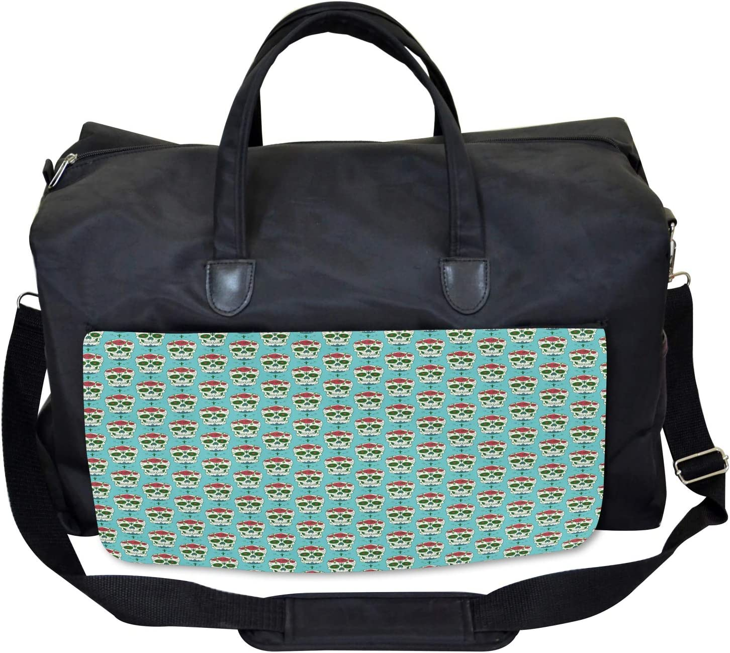 Ambesonne Colorful Gym Bag Large Weekender Carry-on Roses on Skull Pattern