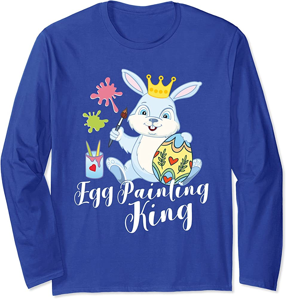 Cute Easter Bunny Egg Painting King Ls 1420271142 Shirts