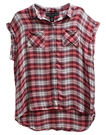 6f8c51e8ac8 Image Unavailable. Image not available for. Color  Polly Esther Juniors  Plaid Sleeveless Button Down ...