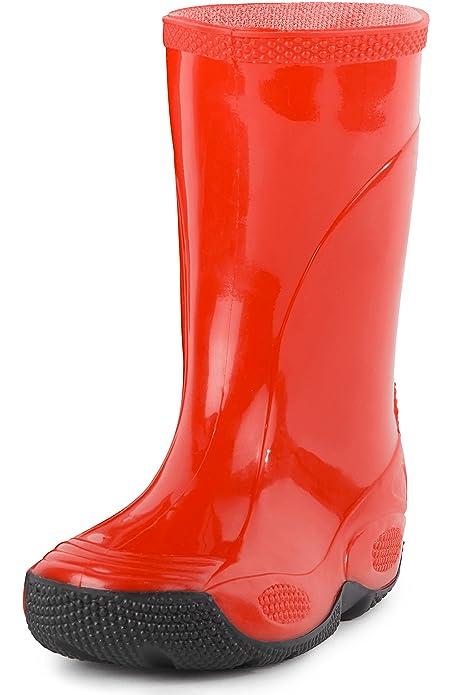 Ladeheid Botas de Agua Zapatos de Seguridad Unisexo Niños LABN191 (Rojo, EU 24)