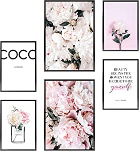 Heimlich Premium Set of Posters | Stylish Photo and Quote Prints Fashion Wall Decor | Glam Wall Decor for Living Room and Bedroom | 2 x 11x17 and 4 x 8.5x11 | Without Frames » Peonies Coco «