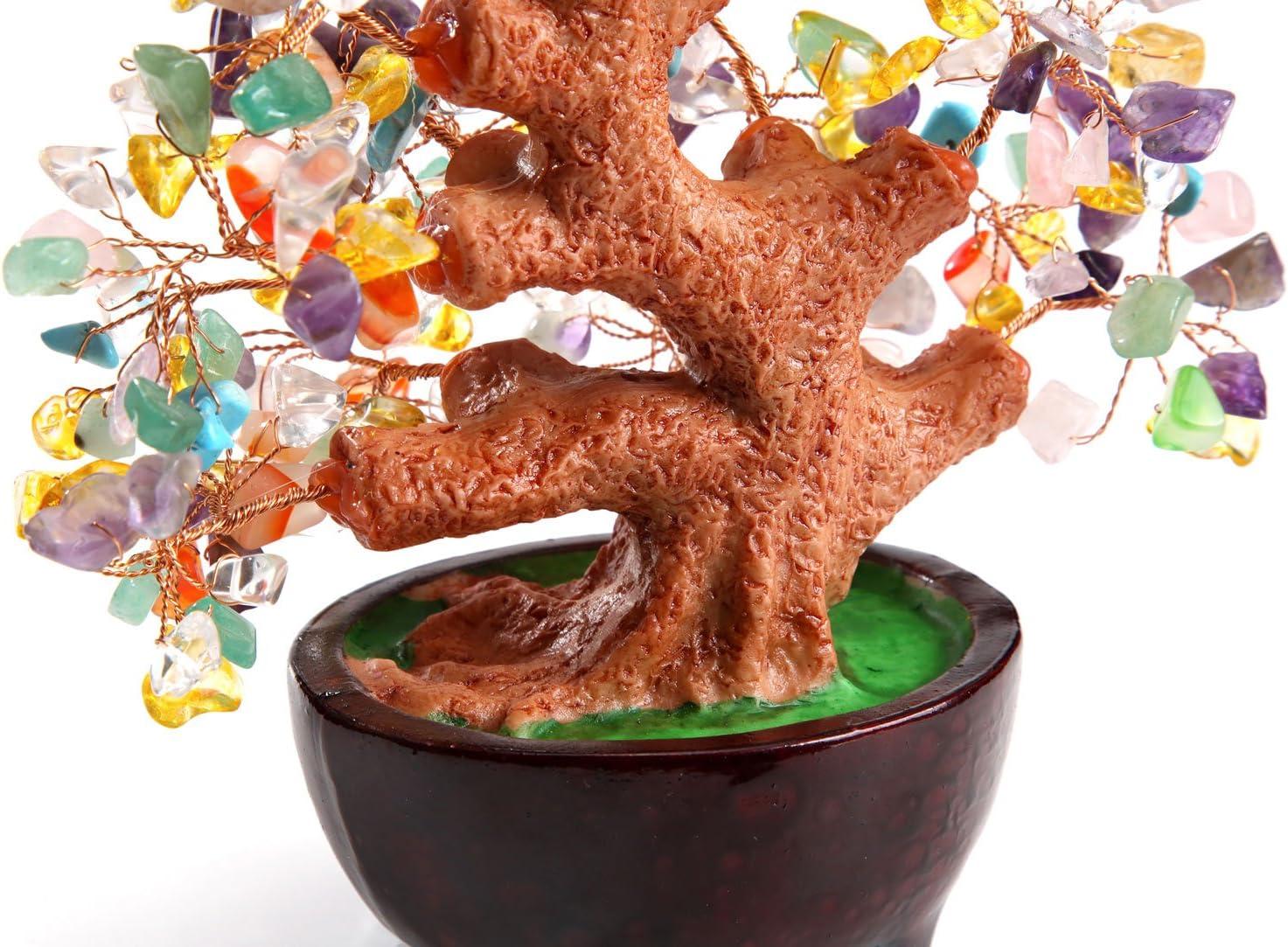 d/écoration de bureau salon multicolore Feng Shui pierre pr/écieuse verte naturelle Pierre HapiLeap Arbre /à monnaie en aventurine de quartz