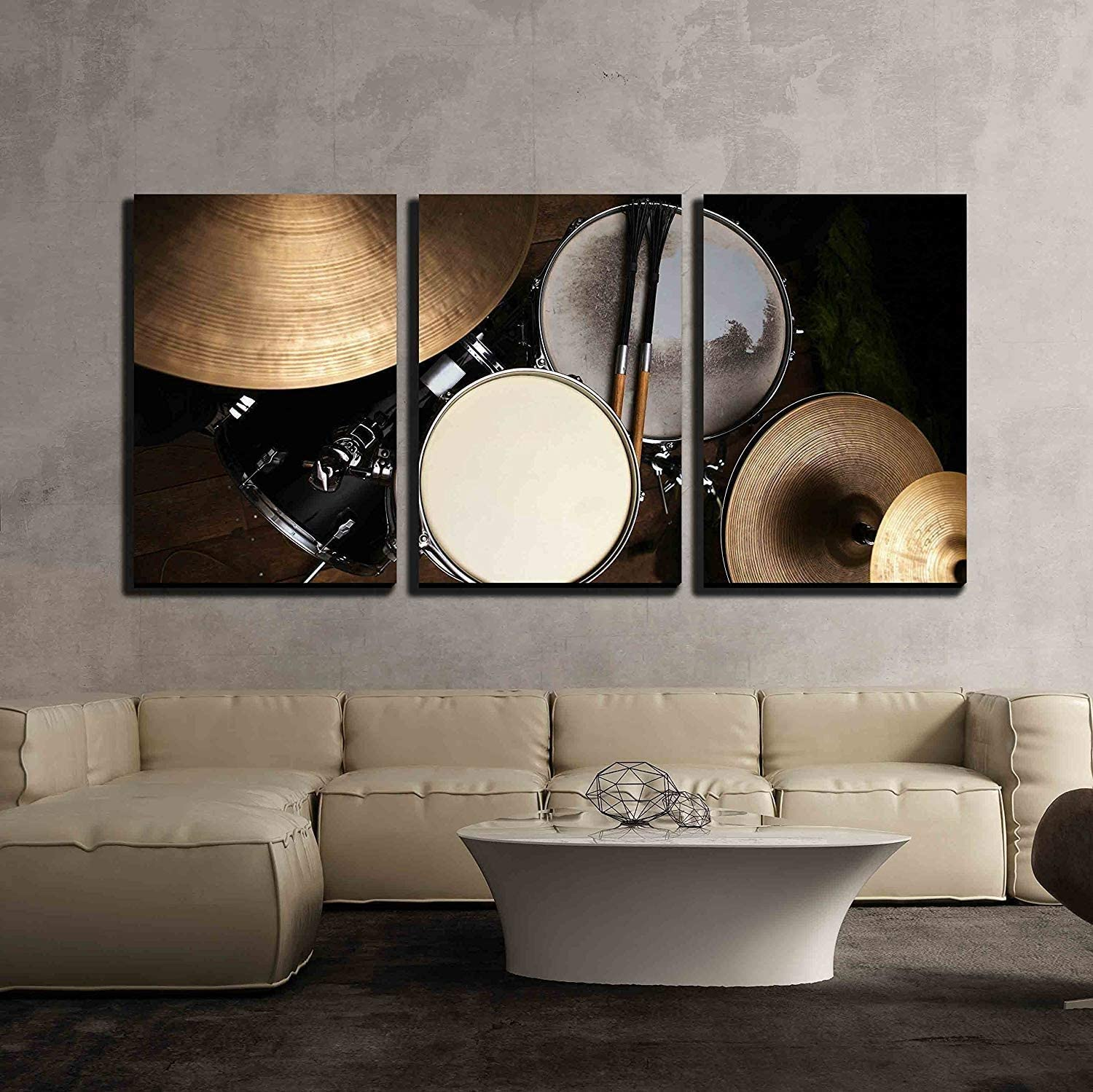 """wall26 - 3 Piece Canvas Wall Art - Drum Set in Dramatic Light on a Black Background - Modern Home Art Stretched and Framed Ready to Hang - 16""""x24""""x3 Panels"""