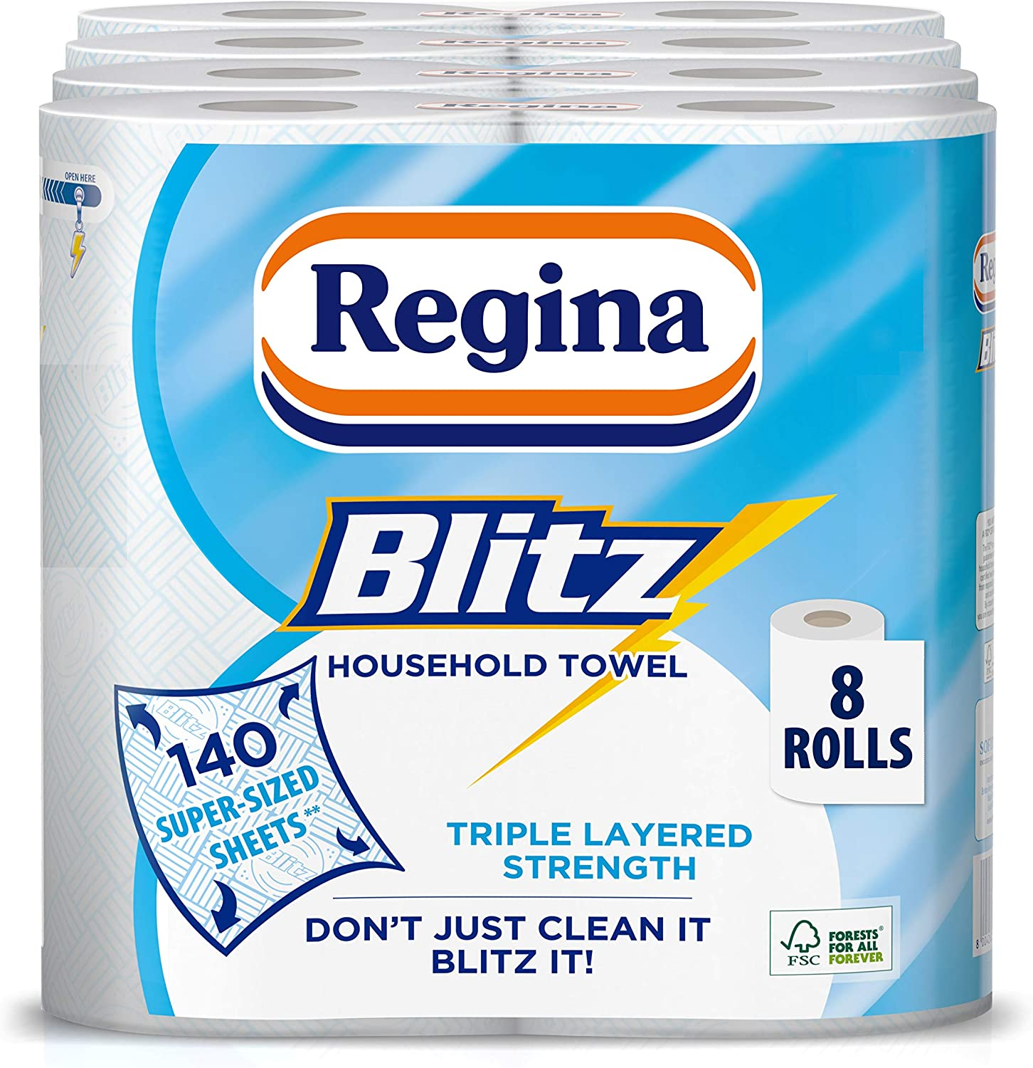 48 Rolls Blitz Kitchen Regina Paper Towels//Sheets Extra Large Roll 3ply Super Strong /& Absorbent Paper