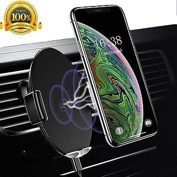 USAMS Cargador Inalámbrico Coche,10W Adaptador Cargadores Inalambricos Soporte Móvil Rejilla de Ventilación para iPhone XS MAX XR X/8/8 Plus,Samsung ...