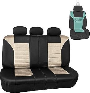FH Group FB068013 Premium 3D Air Mesh Split Bench Car Seat Cover w. Gift, Beige/Black - Fit Most Car, Truck, SUV, or Van