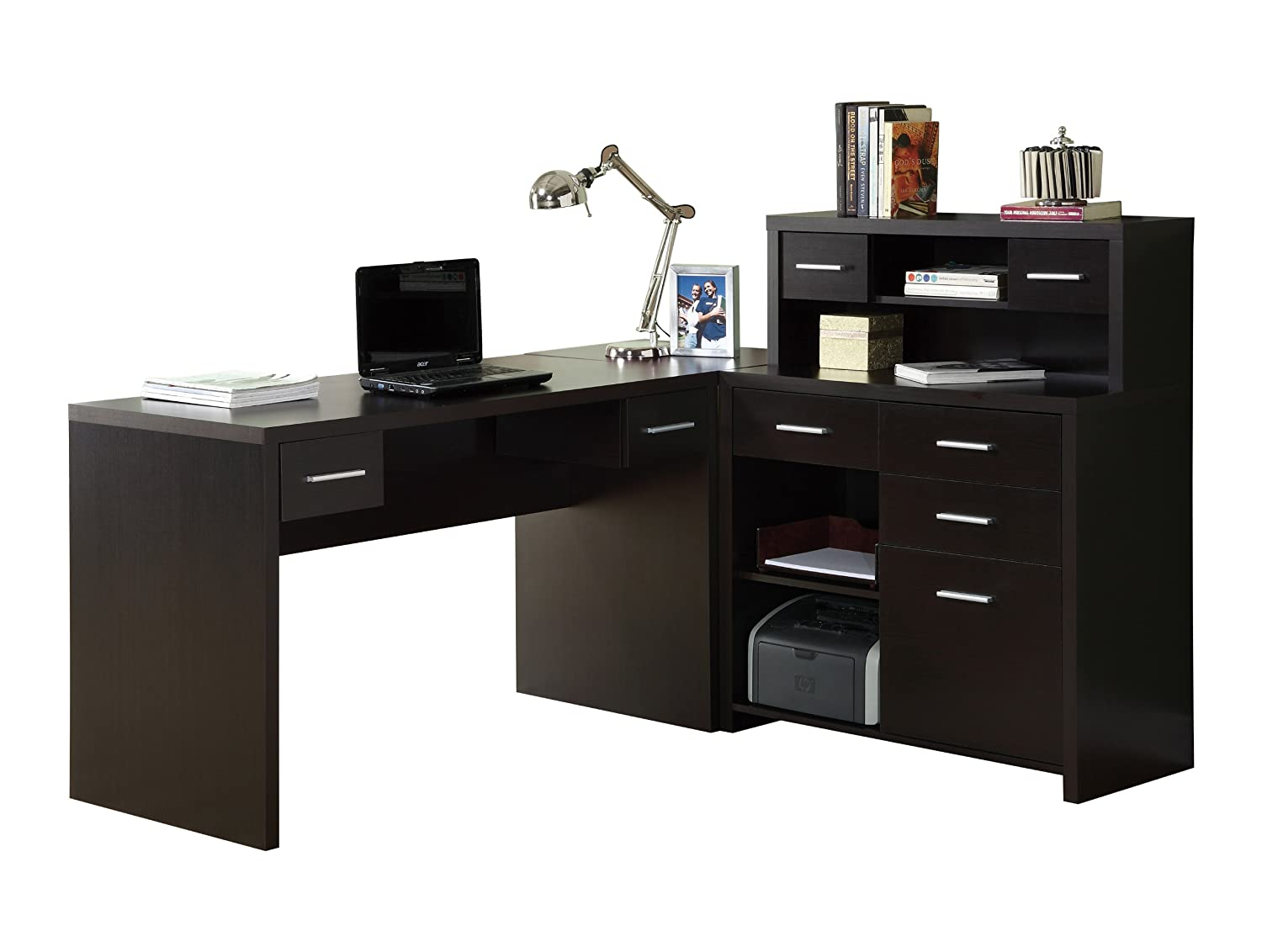 amazoncom monarch specialties hollow core l shaped home office desk cappuccino kitchen dining - Home Office L Shaped Desk