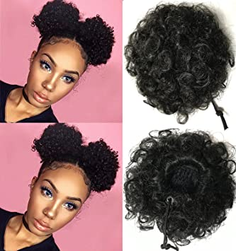 Amazon Beauty Forever Fashion Curly Ponytail Twins Buns Clip