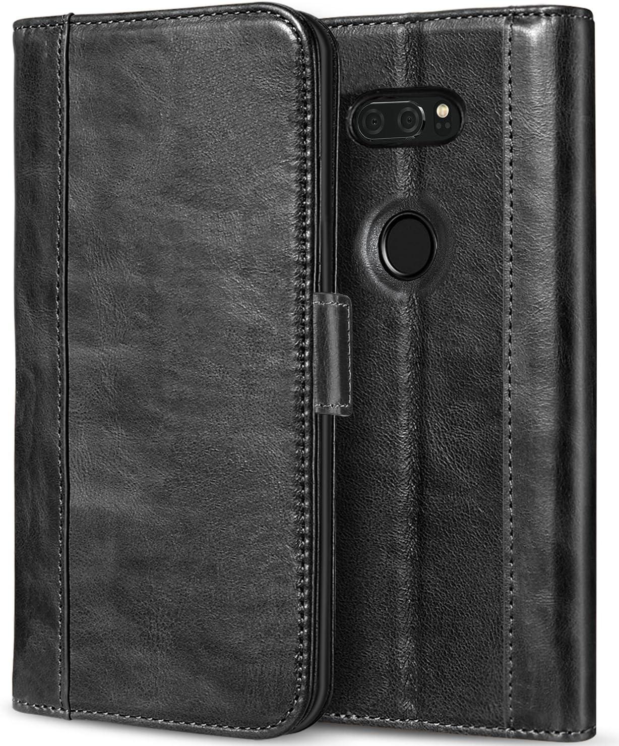 ProCase LG V30 Genuine Leather Case, Vintage Wallet Folding Flip Case with Kickstand Card Holder Protective Cover for LG V30, LG V30 Plus, LG V30S ThinQ, LG V35, LG V35 ThinQ -Black