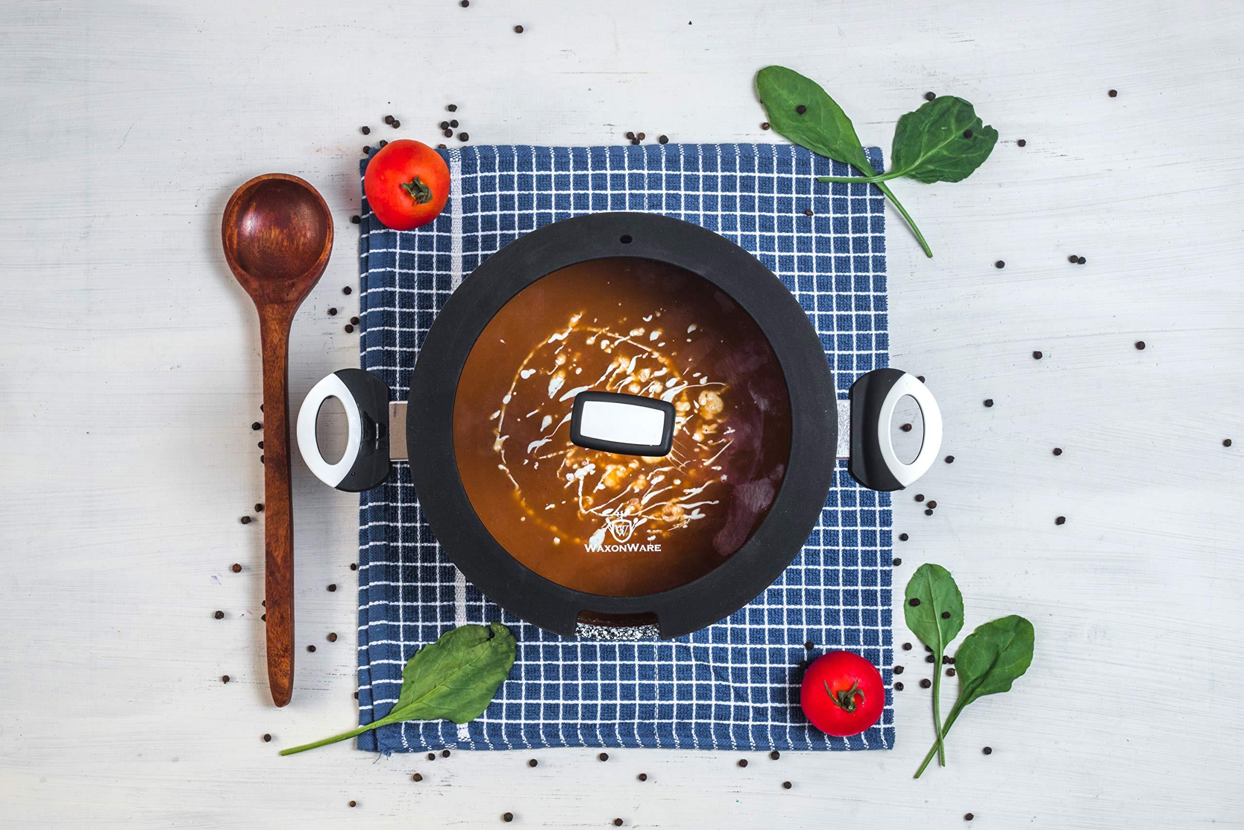 WaxonWare 5.25 Quart Ceramic Nonstick Dutch Oven Casserole Stockpot, Anti-Warp Non Toxic PTFE APEO PFOA Free Nonstick Pot With Lid, Induction Compatible, Dishwasher Safe Dutch Oven (STONETEC Series) by WaxonWare (Image #7)
