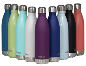 MIRA 25 oz Stainless Steel Vacuum Insulated Water Bottle | Leak-Proof Double Walled Cola Shape Bottle | Keeps Drinks Cold for 24 Hours & Hot for 12 Hours | Iris