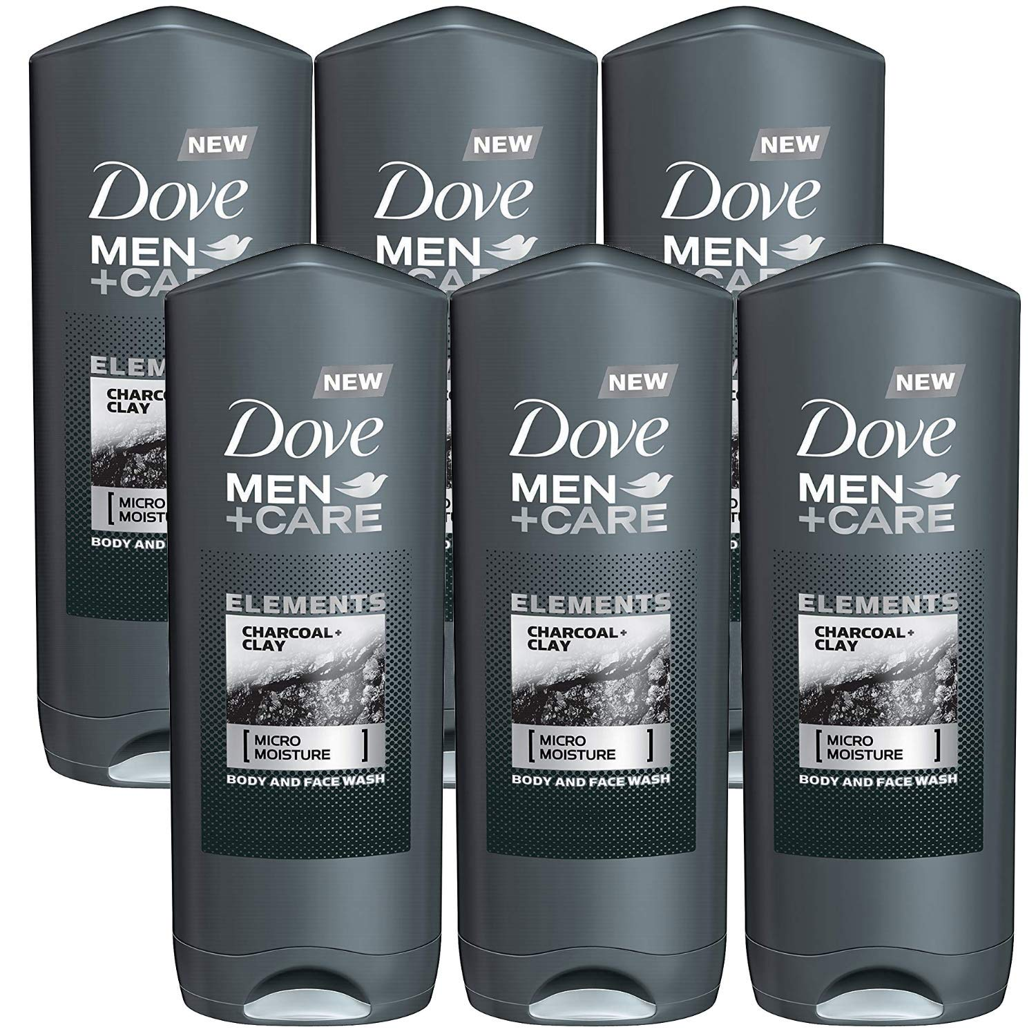 Amazon Com Dove Men Care Elements Body Wash Charcoal And Clay 6 Pack X 13 5 Ounce 400 Ml International Version Beauty