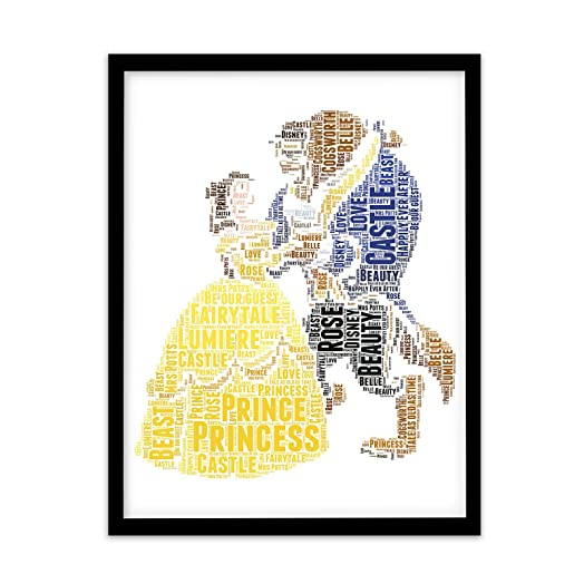 FP1033 Unusual Disney Princess Gifts Beauty Beast A4 Print Personalised Word Art