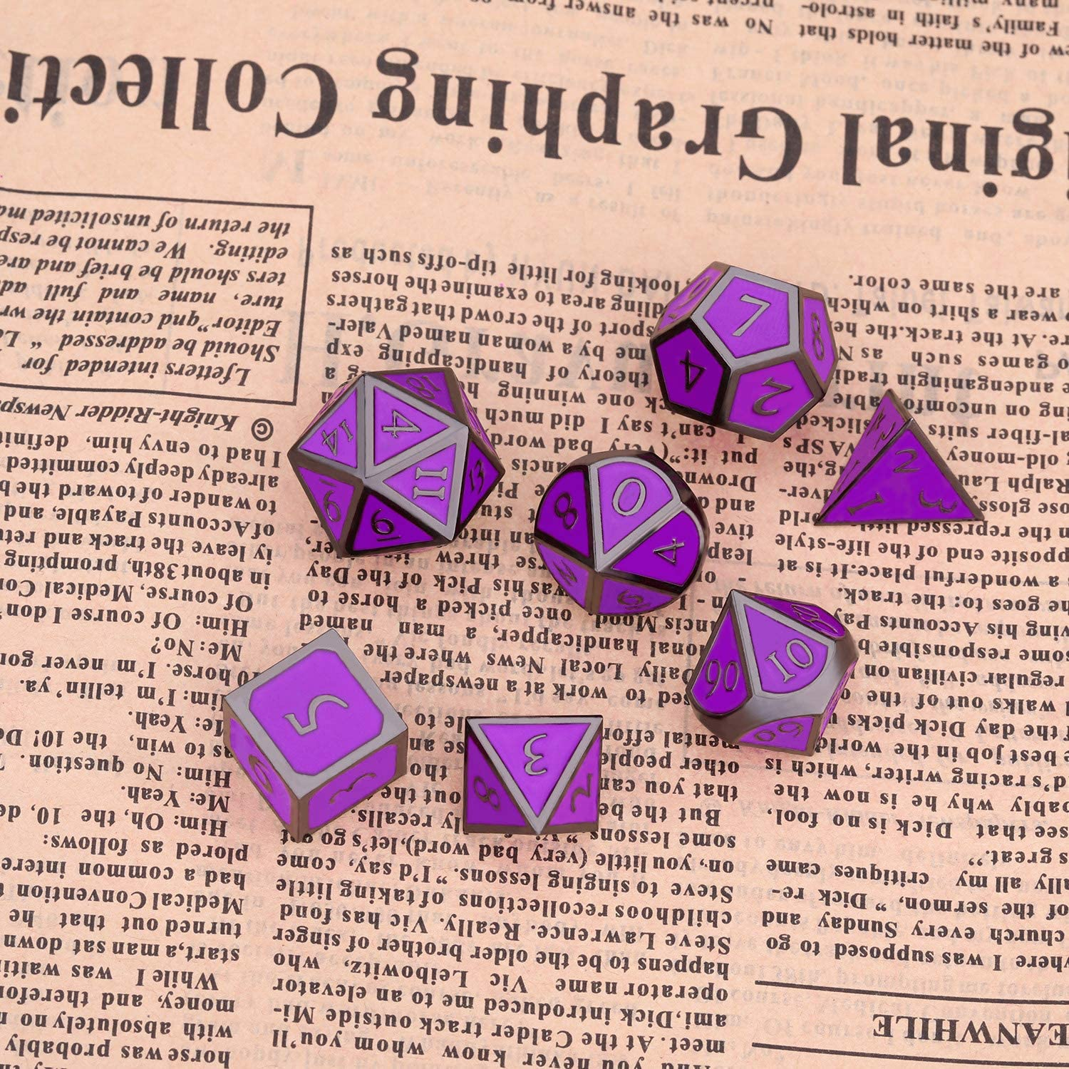 Math Teaching Black-Purple Hestya 7 Pieces Metal Dices Set DND Game Polyhedral Solid Metal D/&D Dice Set with Storage Bag and Zinc Alloy with Enamel for Role Playing Game Dungeons and Dragons