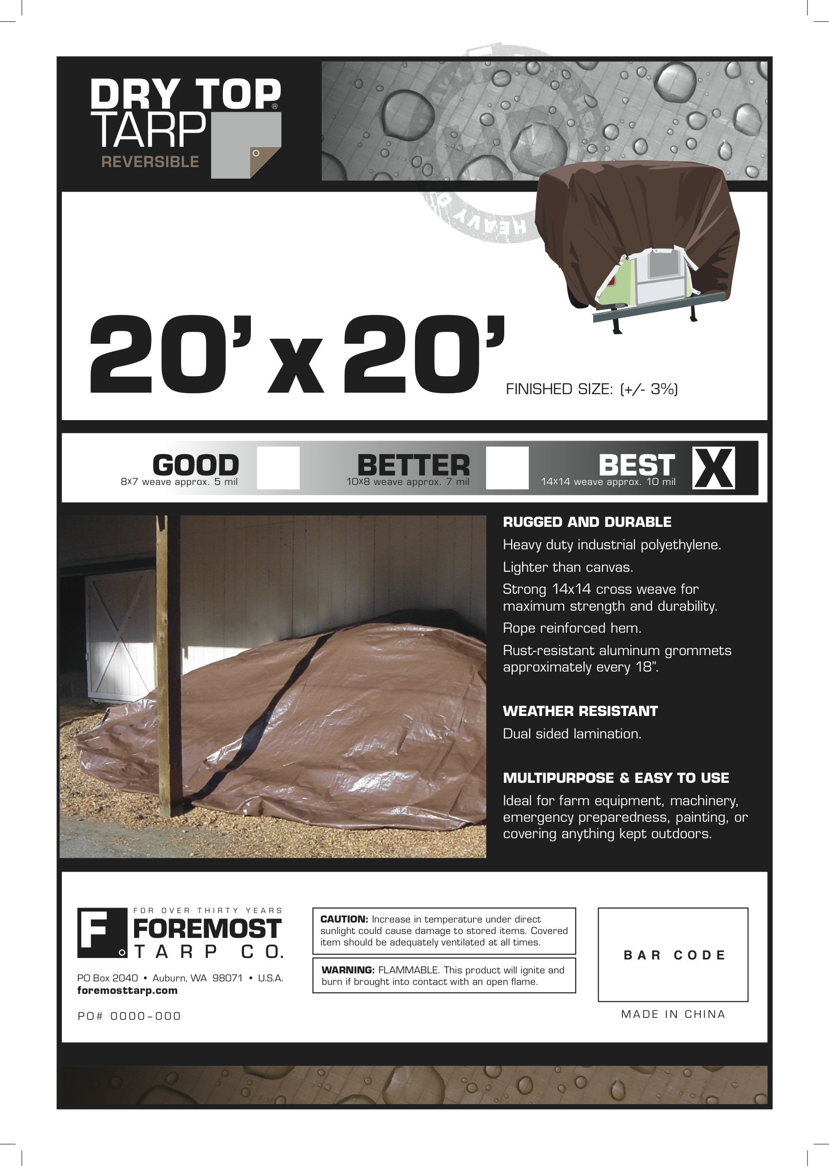 20' x 20' Dry Top Heavy Duty Silver/Brown Reversible Full Size 10-mil Poly Tarp item #220209