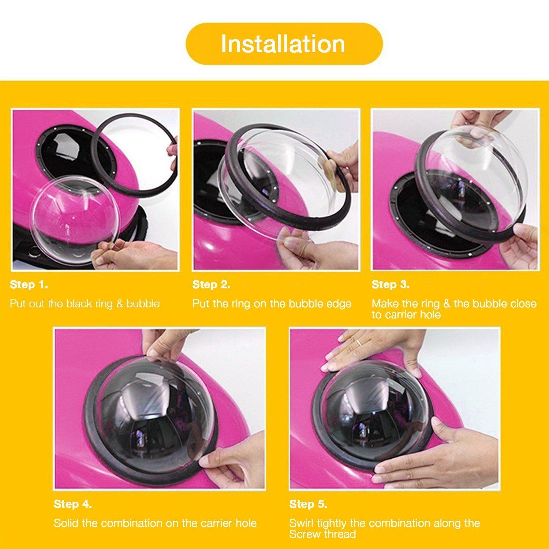 Petcomer Mochila C/ápsula Impermeable Transport/ín en Forma de Burbuja para Mascotas Perros Gatos Oro de Rosa