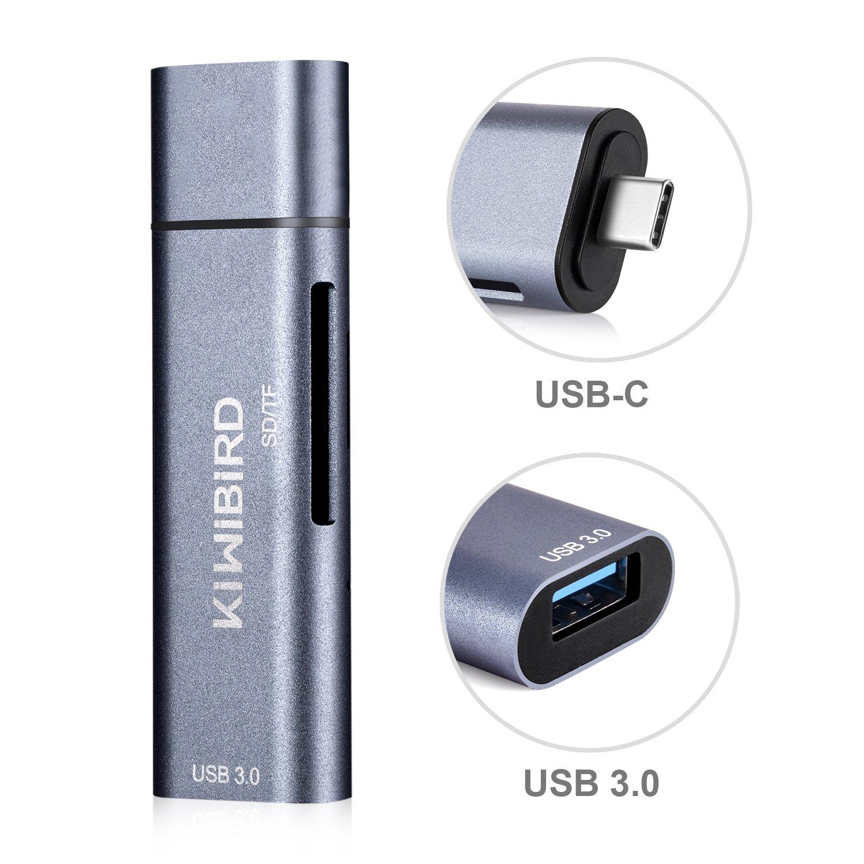 KiWiBiRD Tipo C Lettore di Schede SD/Micro SD, Adattatore USB-C a USB 3.0 Compatibile con MacBook, MacBook Pro, Pixelbook, Pixel, Galaxy S9/Note 9/Tab S4, Huawei P20/Mate 20, più dispositivi Type C più dispositivi Type C SG-018G