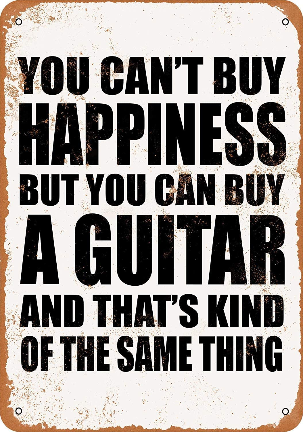 Anwei Signs 8 x 12 Tin Sign - You Can't Buy Happiness But You Can Buy a Guitar - Metal Sign Vintage Look Garage Man Cave Retro Wall Decor