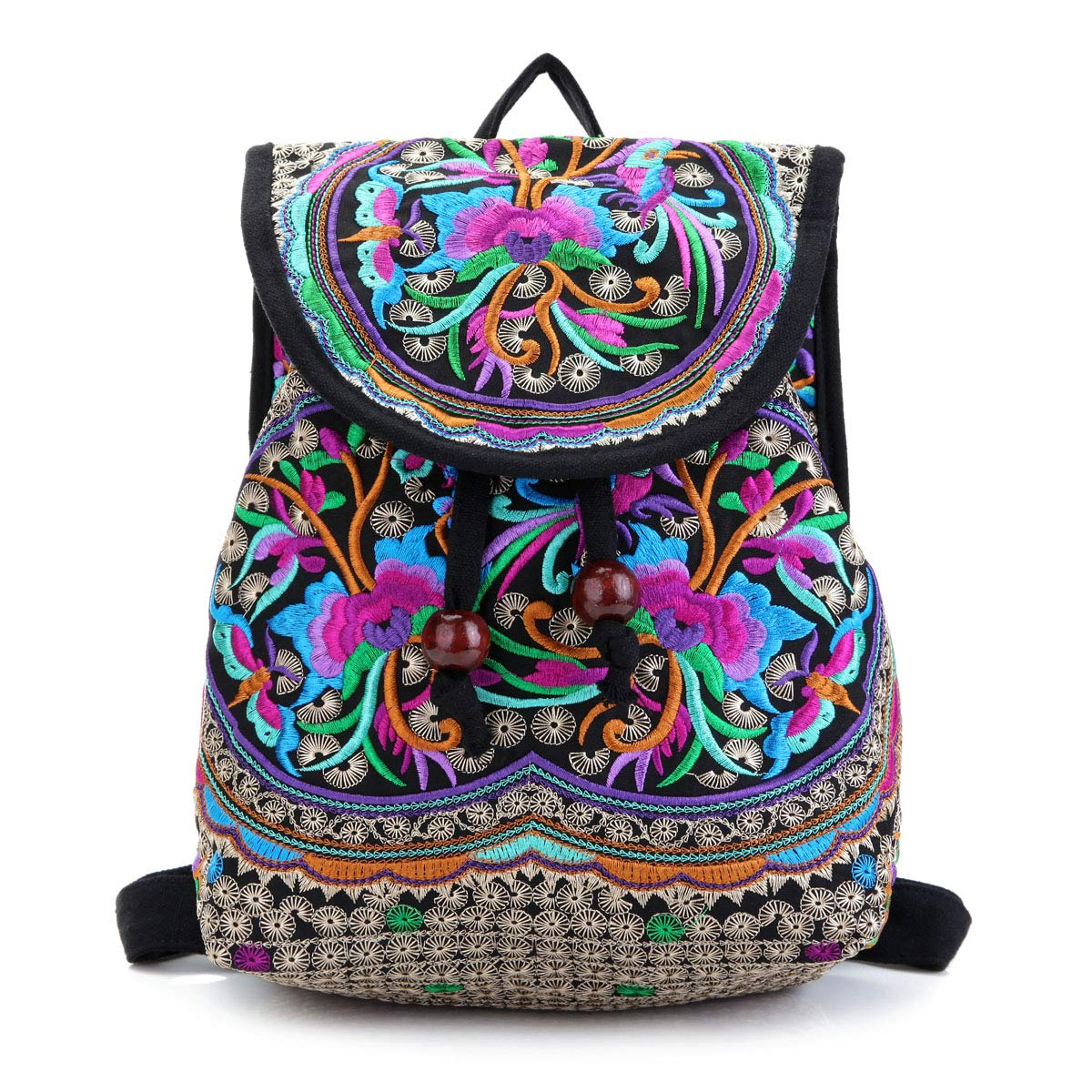 2c311ff0ec12 Embroidery Canvas Backpack Purse for Women, Small Drawstring Casual Travel  Shoulder Bag Daypack
