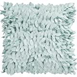 "Surya HH-071 Hand Crafted 100% Polyester Light Blue 18"" x 18"" Textural Decorative Pillow"