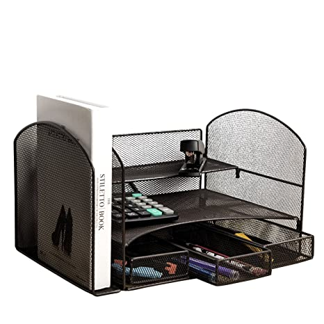 VANRA Metal Mesh Desktop File Organizer File Sorter Desk File Tray Organize Office School Supply Holder