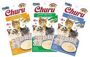 INABA Churu Lickable Creamy Purée Cat Treats 3 Flavor Variety Pack of 12 Tubes