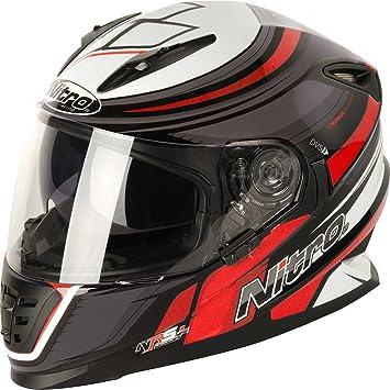 Nitro NRS-01 par DVS Full Face casco de moto tapa – negro pistola rojo