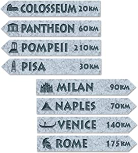 Beistle Italian Street Sign Cutouts, 3-3/4 by 23-3/4-Inch, Multicolor
