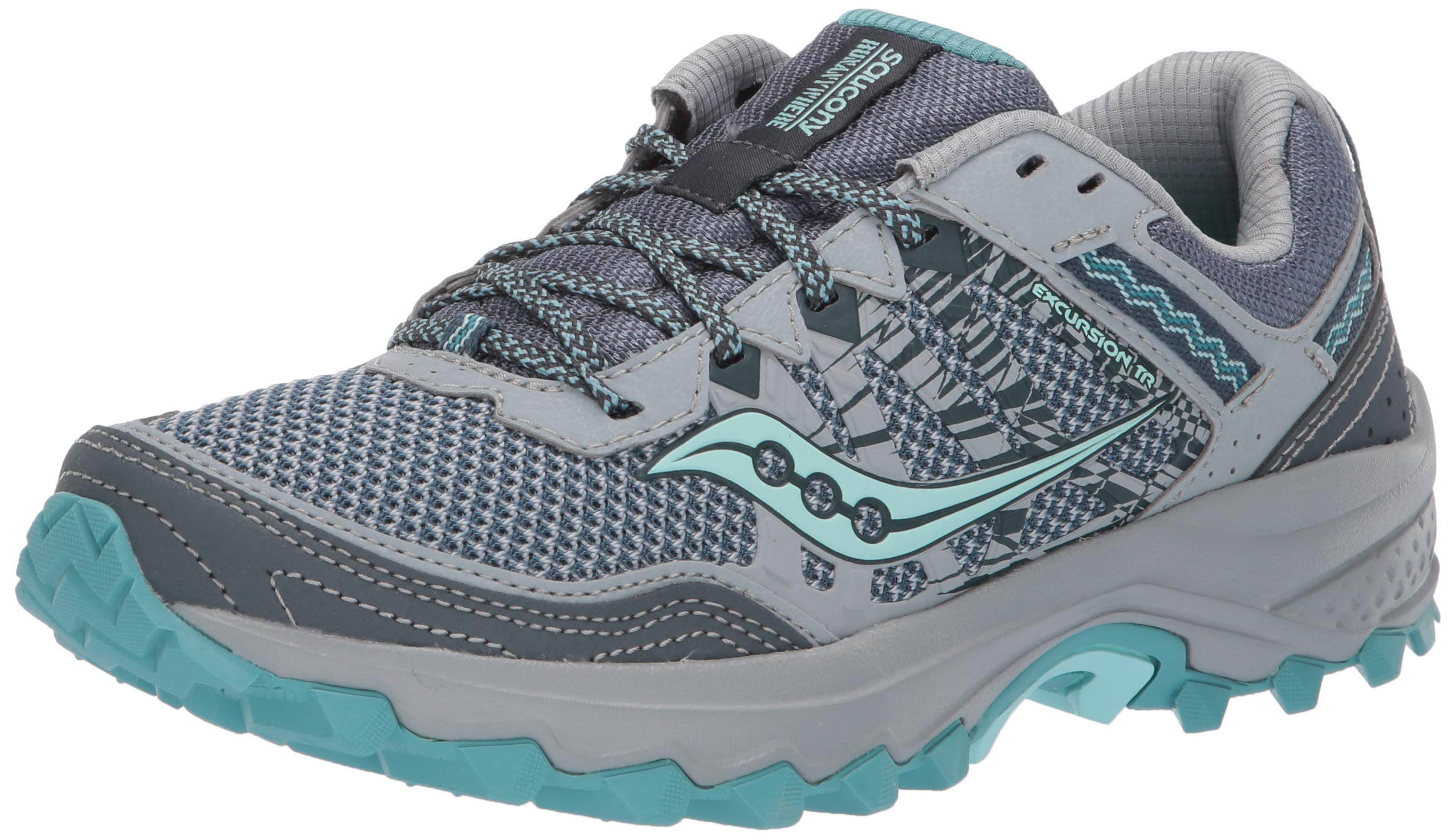 Saucony Women's Grid Excursion TR12 Trail Running Shoe, Grey/Teal, 5 M US