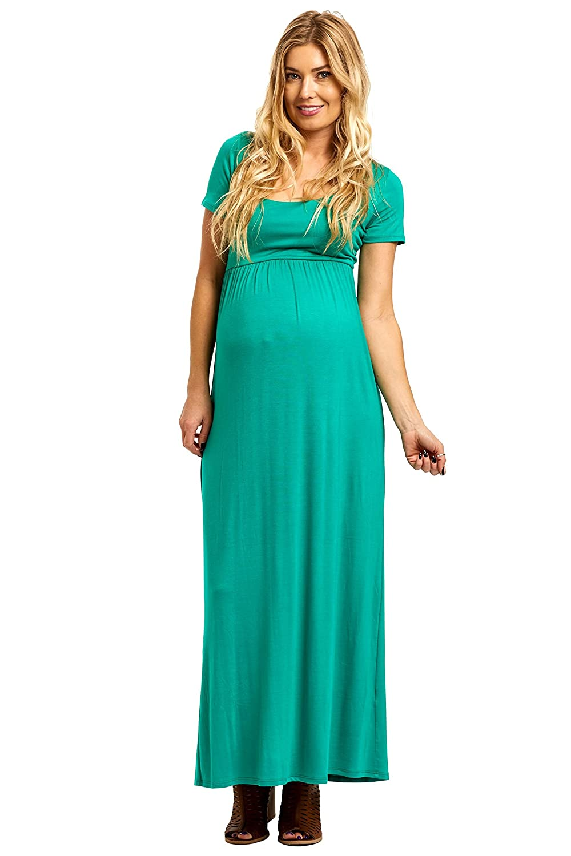 PinkBlush Maternity Solid Short Sleeve Maxi Dress at Amazon Women\'s ...