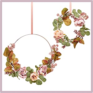 RozeUp Peony Floral Hoop Wreath - Comes With Mini Wreath - Boho Wall Hanging Flowers - Rustic Country Decor for Wedding - Floral Nursery - Eucalyptus Small Wreaths for Indoor - 10 in and 6 in Hoops