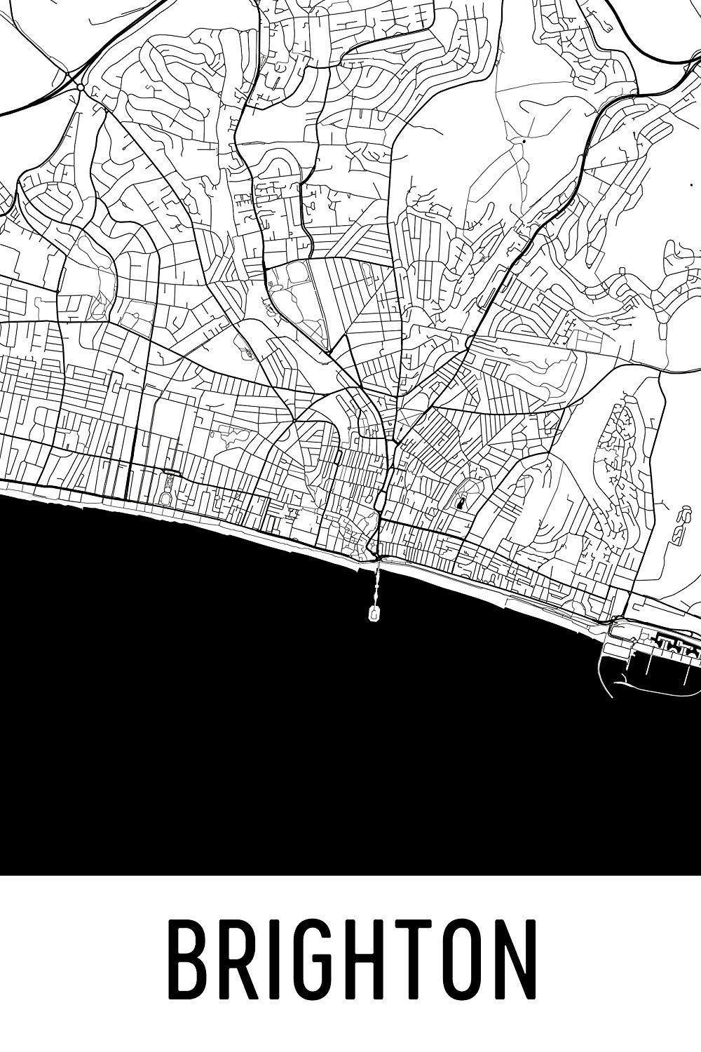 Map Of England Brighton.Modern Map Art Brighton Print Brighton Art Brighton Map Brighton