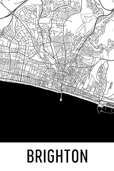 Map Of Uk Black And White.Modern Map Art Brighton Print Brighton Art Brighton Map Brighton