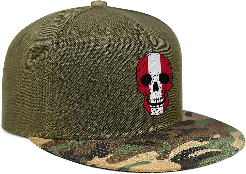 Skull Peru Flag Unisex Baseball Cap Ultra Thin Fishing Caps Adjustable Trucker Caps Dad-Hat