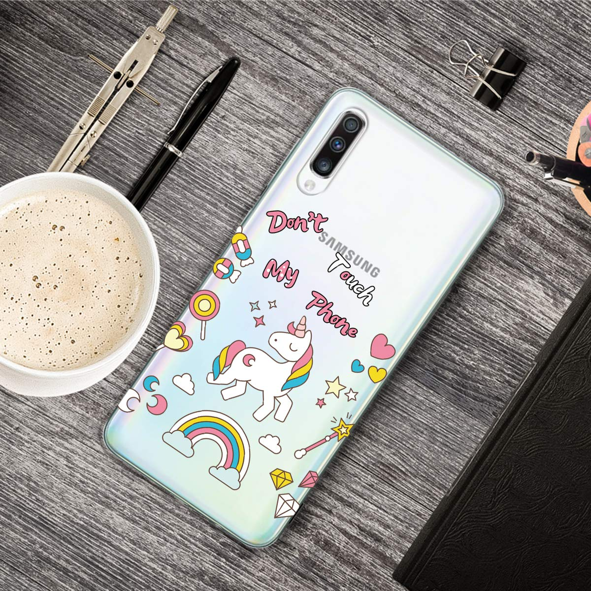 Gato DiaryTown Funda para Samsung Galaxy A50 2019,Silicona Ultra Fina Carcasa Transparente con Dibujos de Lindo Antigolpes Suave TPU Protector Parachoques Case Cover para Samsung A50 2019