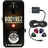 TC Electronic BodyRez Acoustic Guitar Pickup Enhancer Pedal -INCLUDES- Blucoil Power Supply Slim AC/DC Adapter for 9 Volt DC 670mA with US Plug AND Blucoil Guitar Pick V2