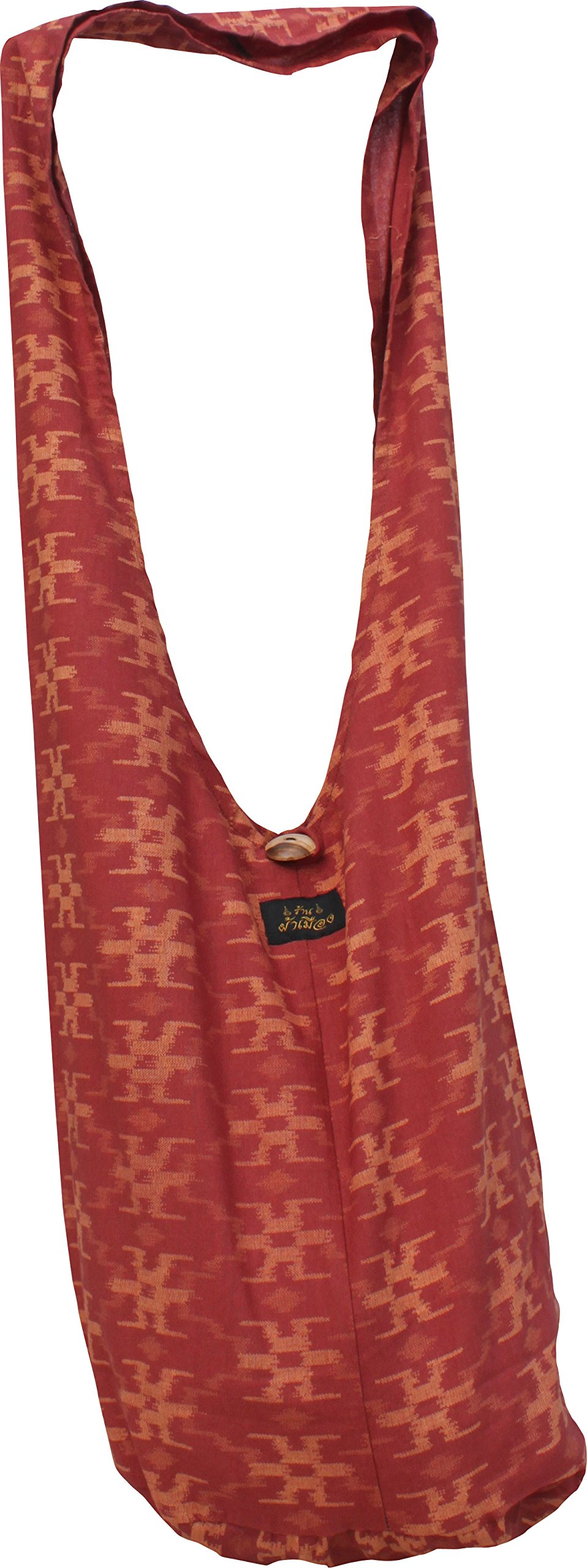 RaanPahMuang Brand Thin Printed Cotton Thai Yaam Shoulder Sling Bag - Weave Art, Small, Rust Brow