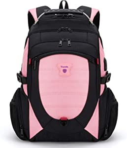 Tzowla Travel Laptop Backpack,Anti-Theft Water Resistant Business Luggage with TSA Lock&USB Charging Port Friendly Computer Cooler Daypack for Men Women College School Bag Fit 16/17inch Laptop(Pink)