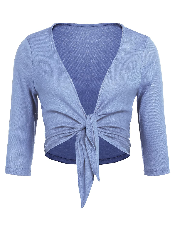 Concep Women's Tie Front Shrug Cropped Bolero 3/4 Sleeve Open Cardigans Plus Size S-XXL